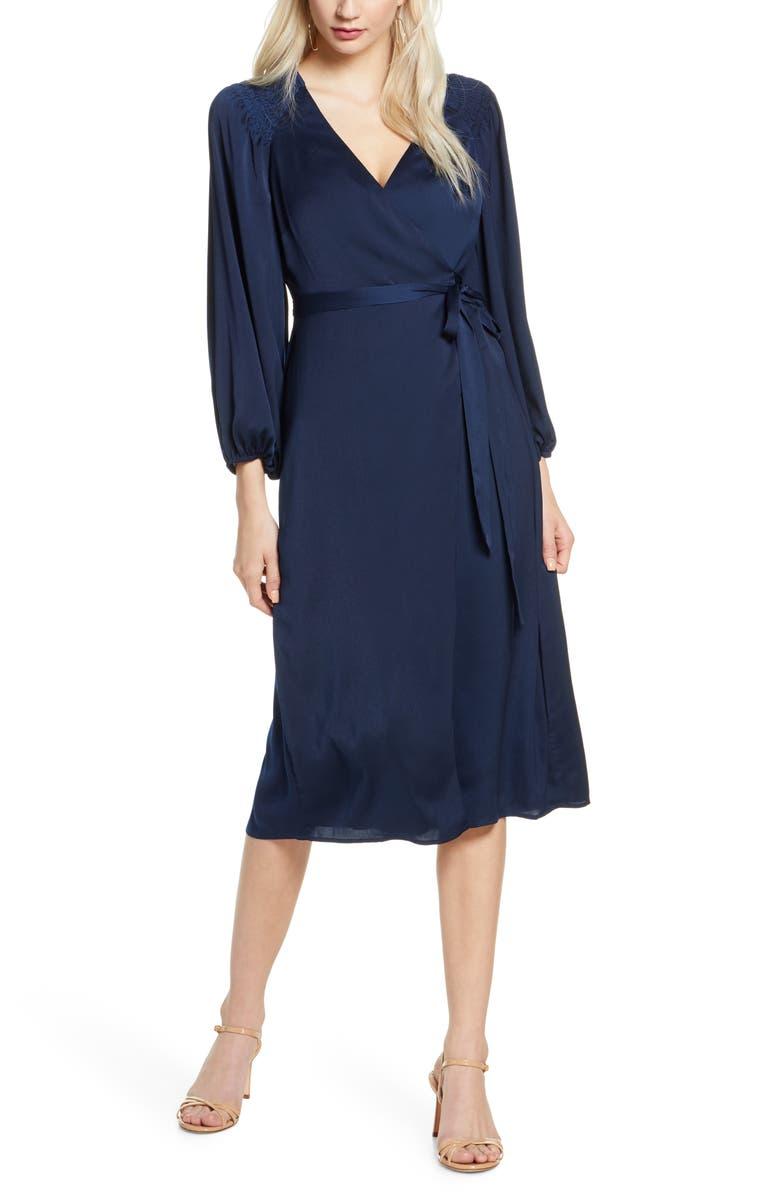 ALI & JAY Golden Days Long Sleeve Satin Wrap Midi Dress, Main, color, NAVY