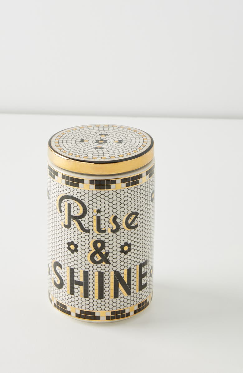 ANTHROPOLOGIE Medium Bistro Rise & Shine Canister, Main, color, WHITE