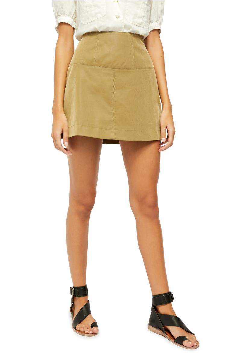 FREE PEOPLE Days in the Sun Faux Suede Miniskirt, Main, color, 350