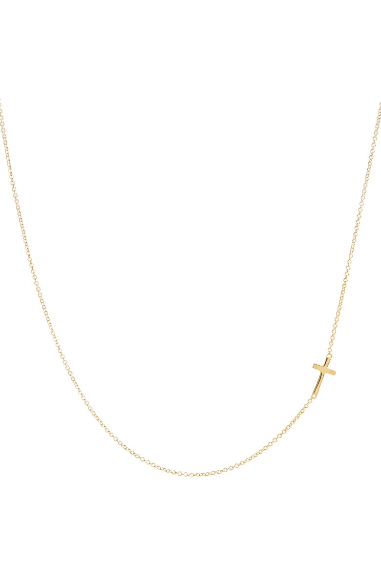 BONY LEVY Cross Station Necklace, Main, color, YELLOW GOLD