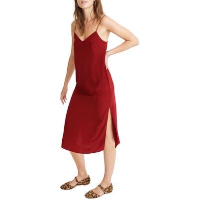 Madewell Side Slit Silk Slipdress, Red