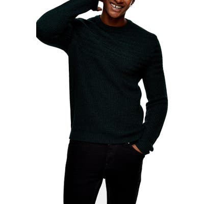 Topman Mixed Stitch Crewneck Sweater, Green