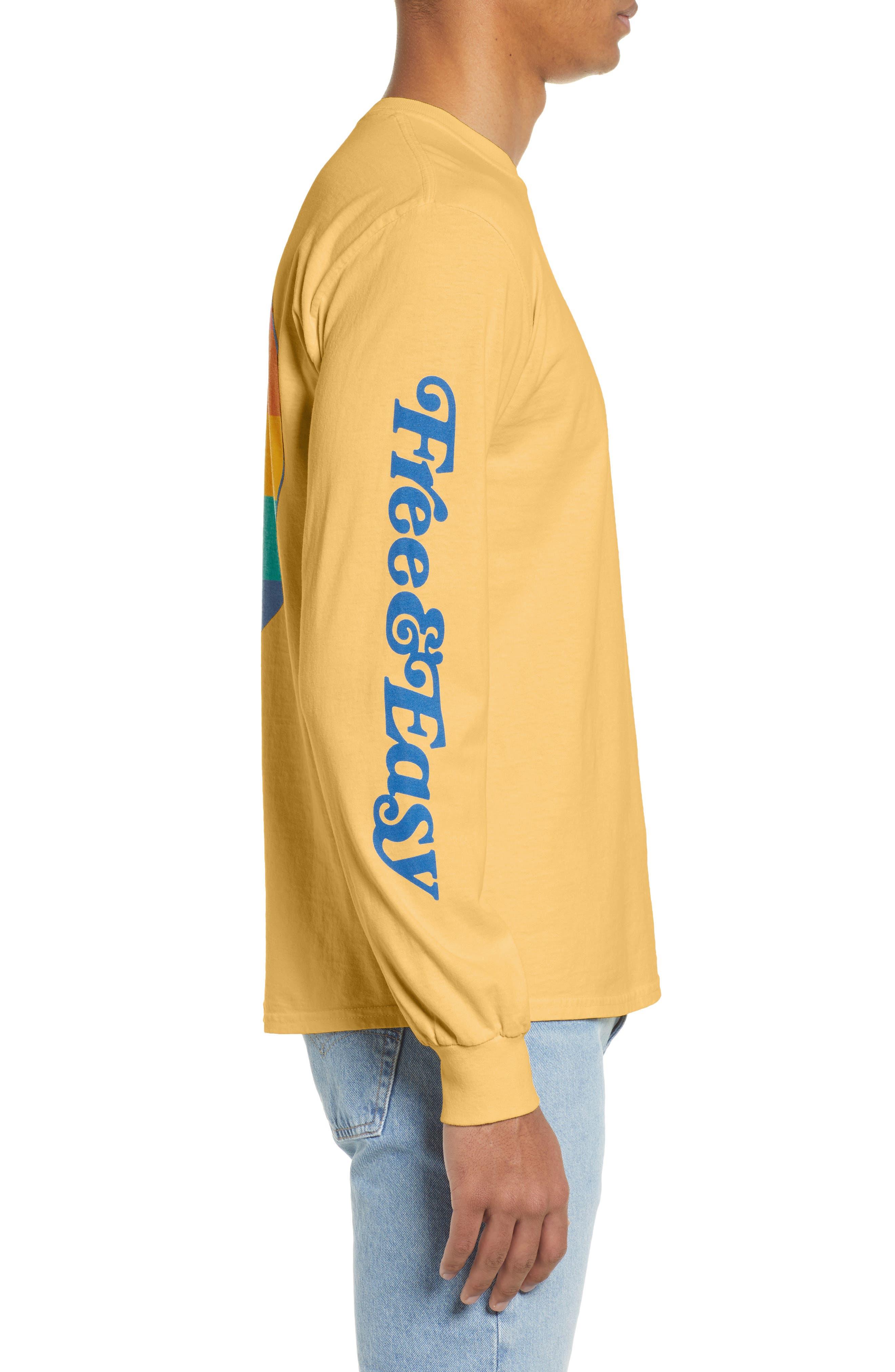 ,                             Free & Easy Rainbow Yin Yang Long Sleeve T-Shirt,                             Alternate thumbnail 3, color,                             YELLOW