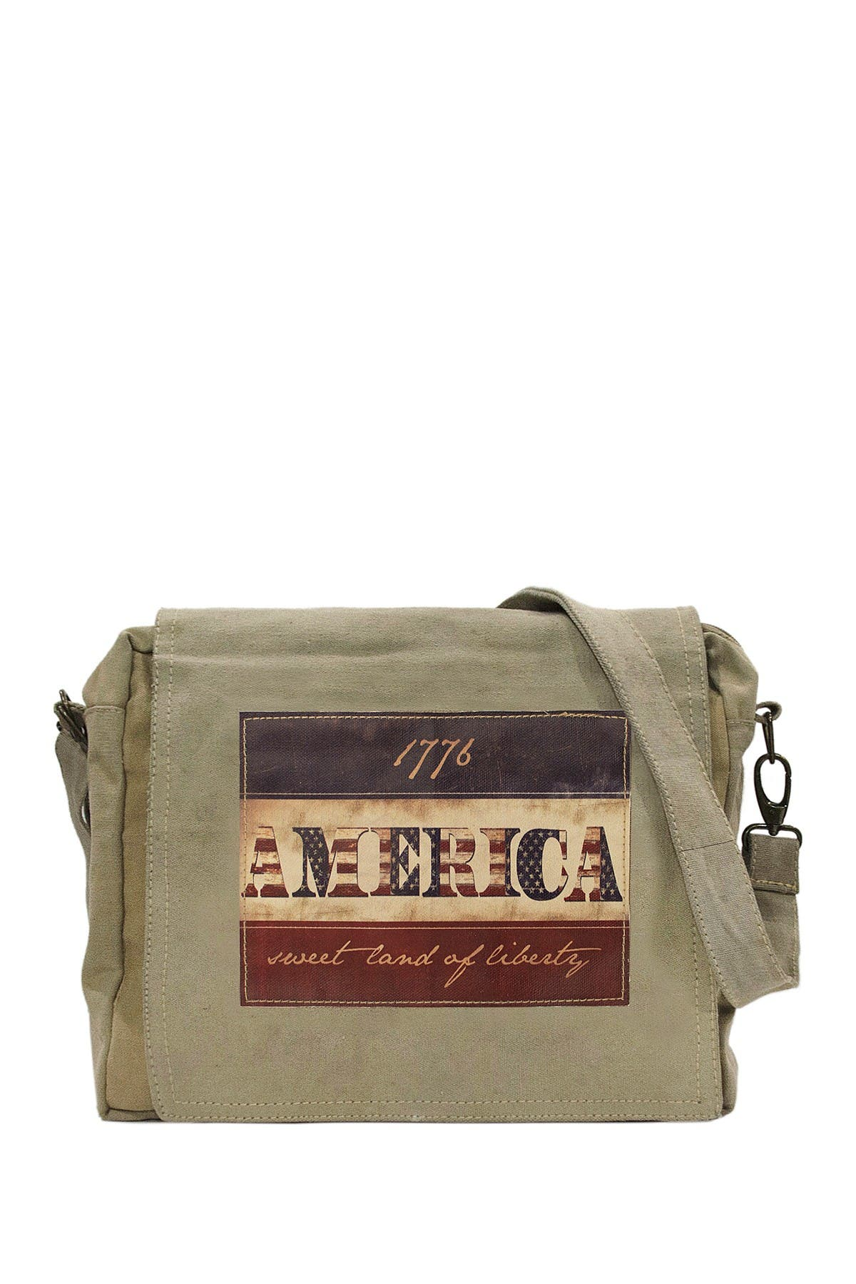 Image of Vintage Addiction 1776 Flag Recycled Military Tent Crossbody Bag