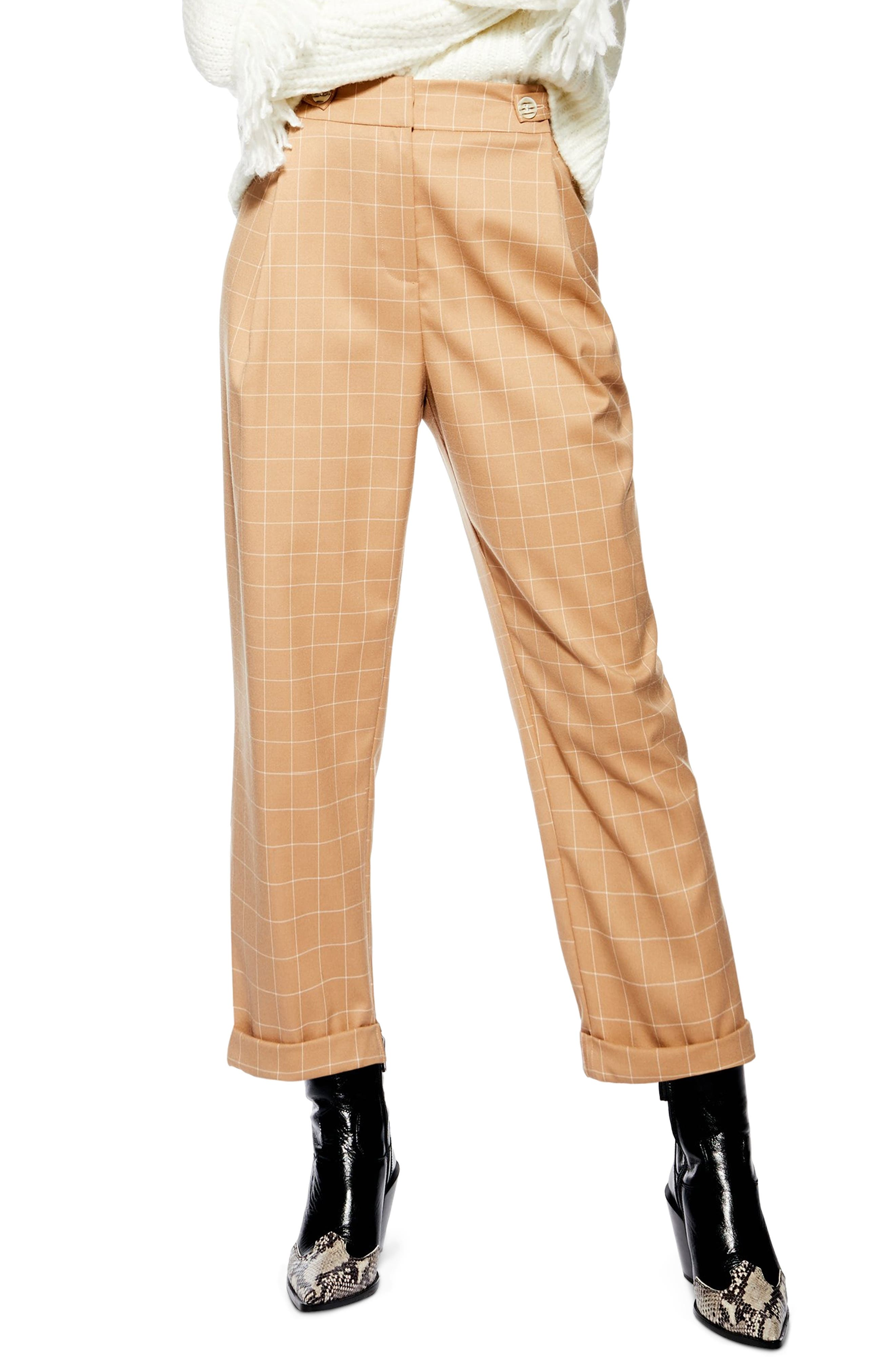 1920s Style Women's Pants, Trousers, Knickers, Tuxedo Womens Topshop Windowpane Check Mensy Trousers $37.50 AT vintagedancer.com