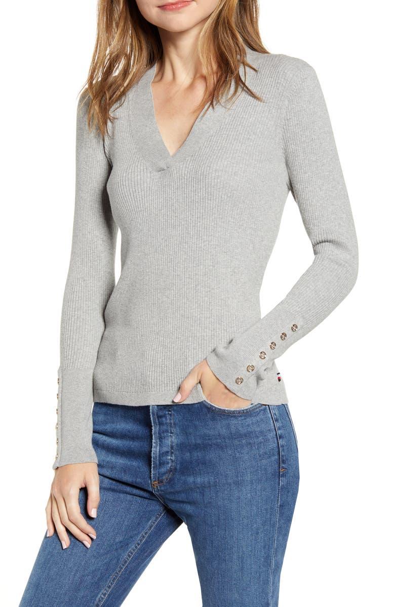 TOMMY HILFIGER Rib V-Neck Sweater, Main, color, MED HEATHER GREY