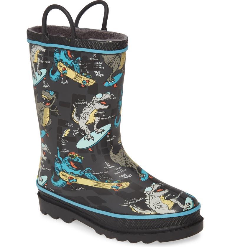 WESTERN CHIEF Rad Rex Waterproof Rain Boot, Main, color, CHARCOAL