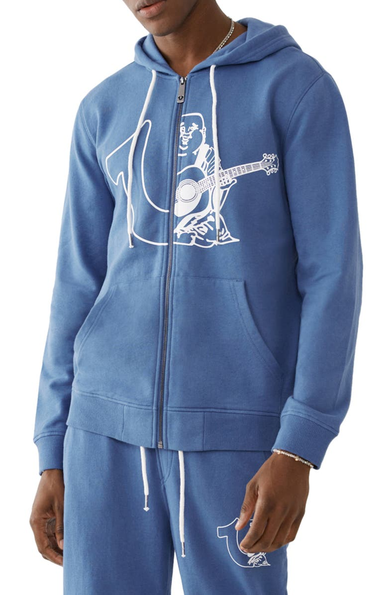 TRUE RELIGION Large Branded Hoodie, Main, color, FEDERAL BLUE