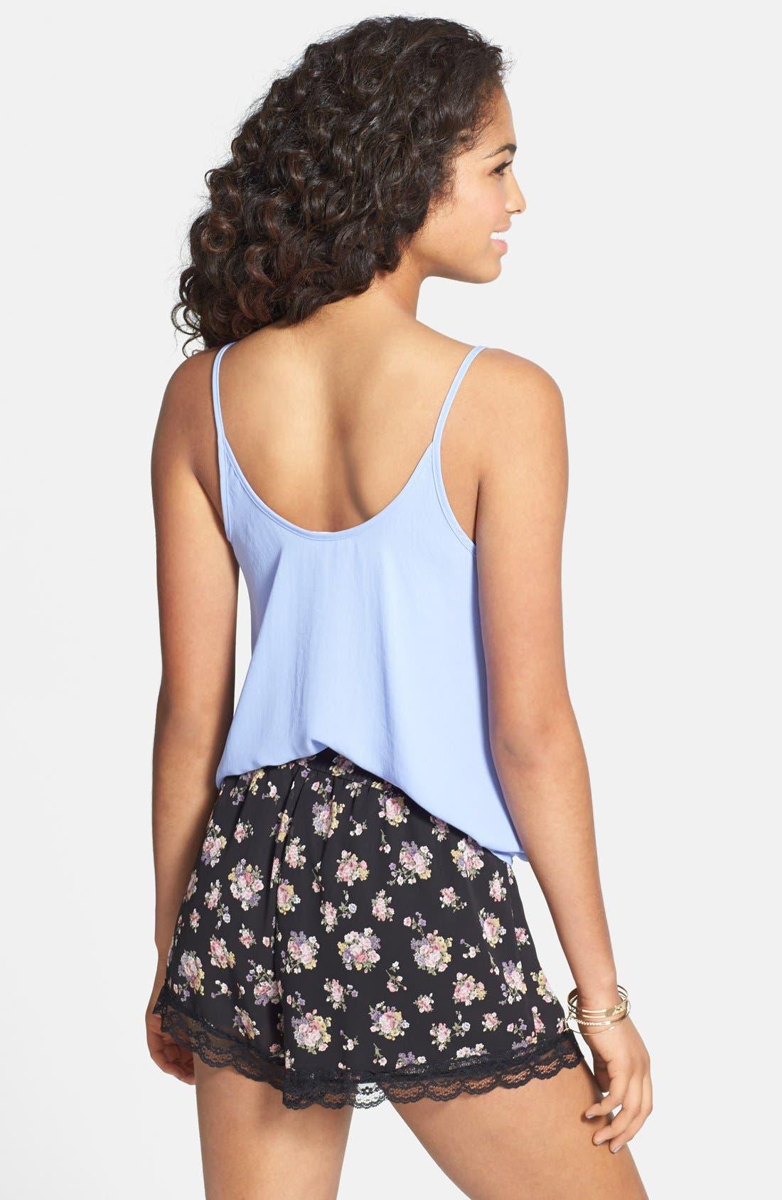 ,                             Lace Trim Floral Print Shorts,                             Alternate thumbnail 2, color,                             001