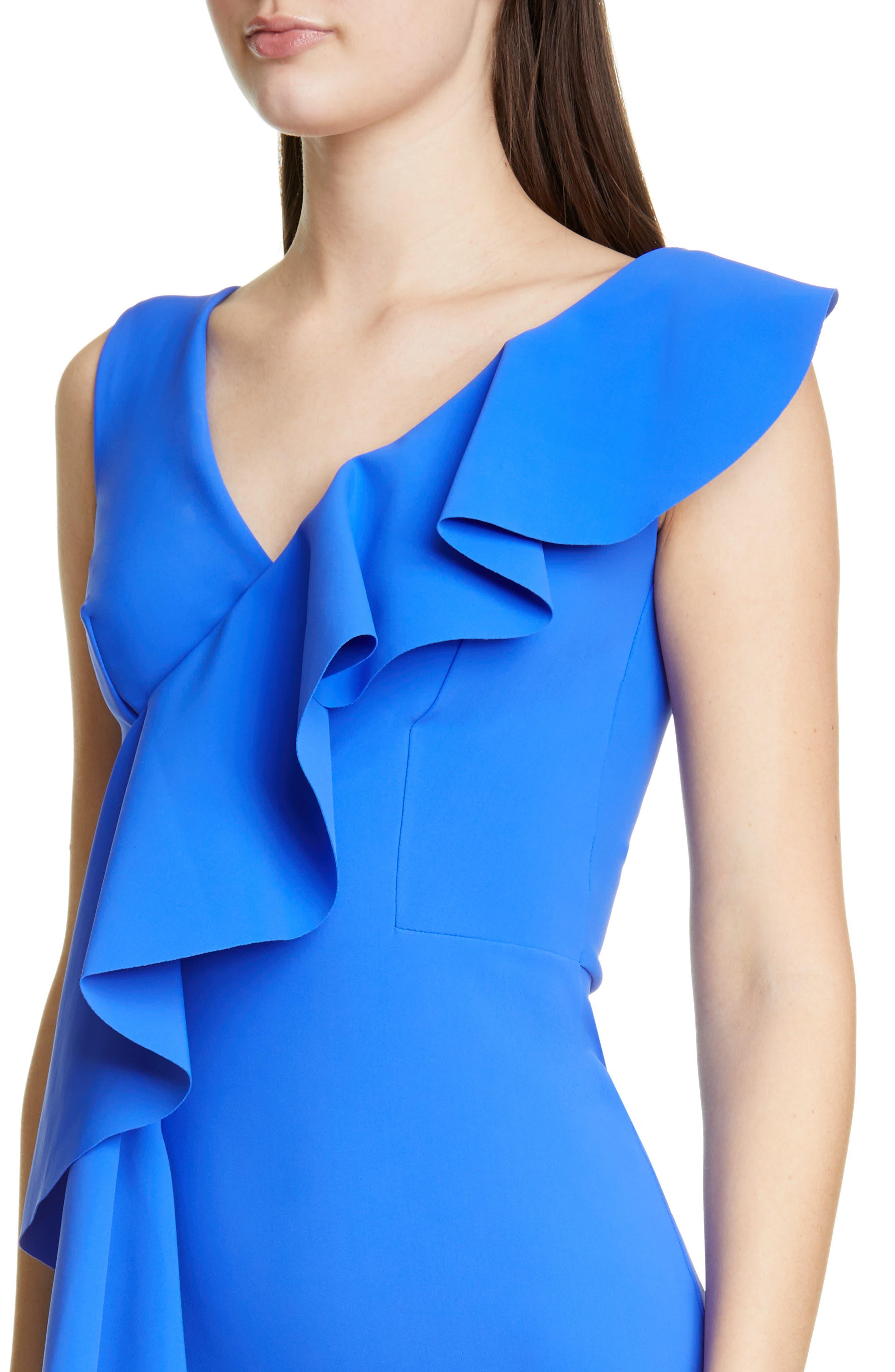 ,                             Janka Ruffle Evening Gown,                             Alternate thumbnail 4, color,                             BLUE