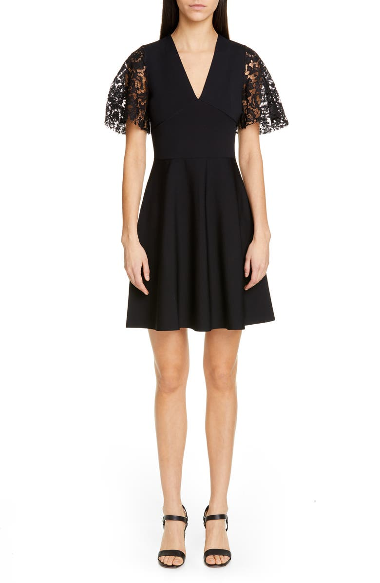 VALENTINO Lace Flutter Sleeve Sweater Dress, Main, color, 001