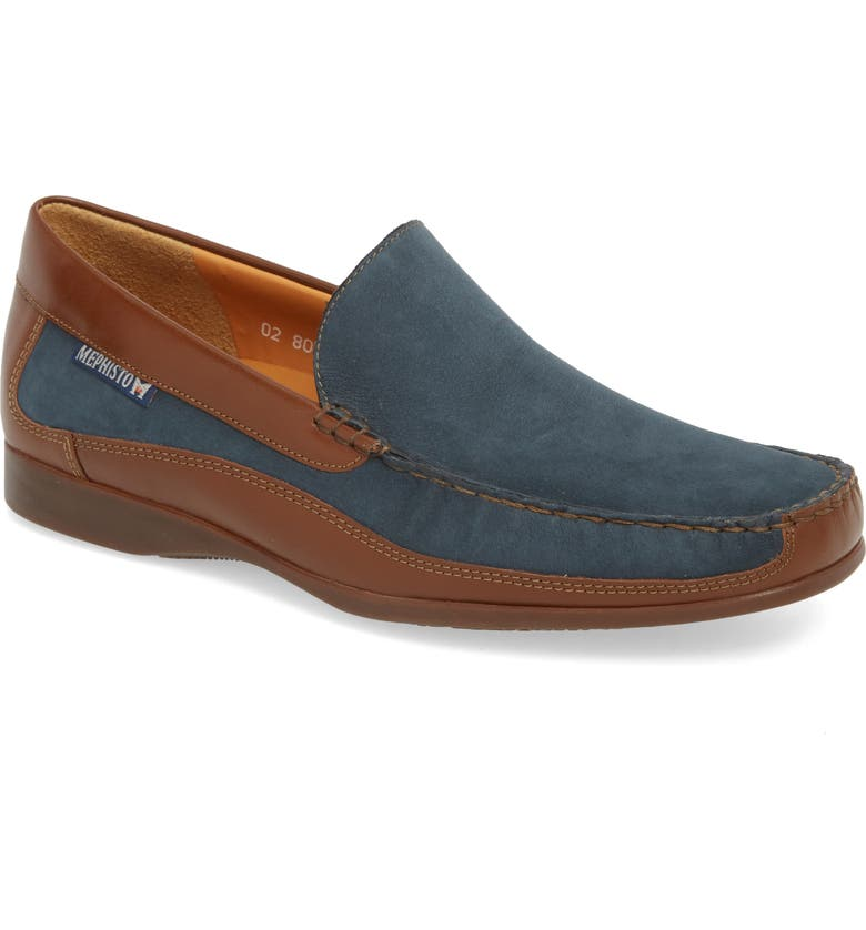 MEPHISTO 'Baduard' Loafer, Main, color, NAVY/ HAZELNUT