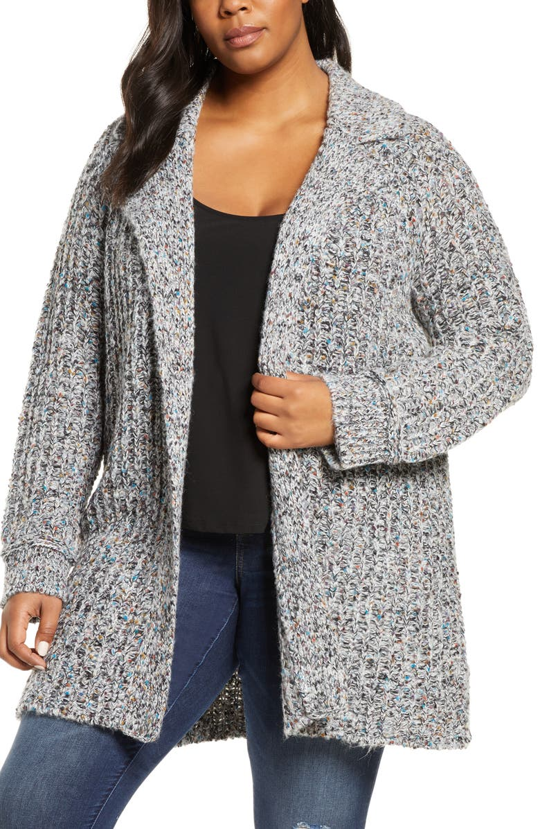 CASLON<SUP>®</SUP> Notch Collar Open Front Cardigan, Main, color, WHITE- BLACK MULTI