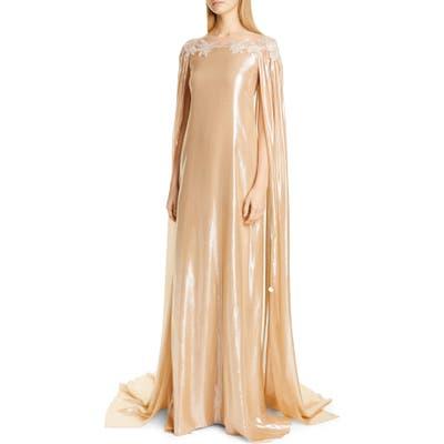 Pamella Roland Cape Detail Lame Caftan Gown, Metallic
