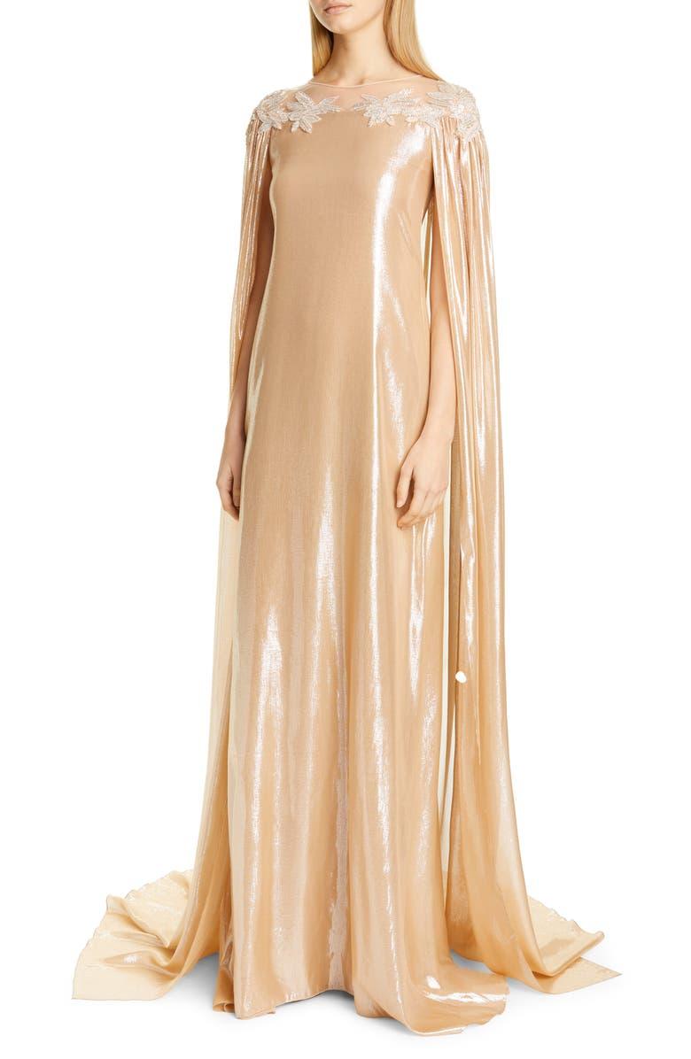 PAMELLA ROLAND Cape Detail Lamé Caftan Gown, Main, color, GOLD