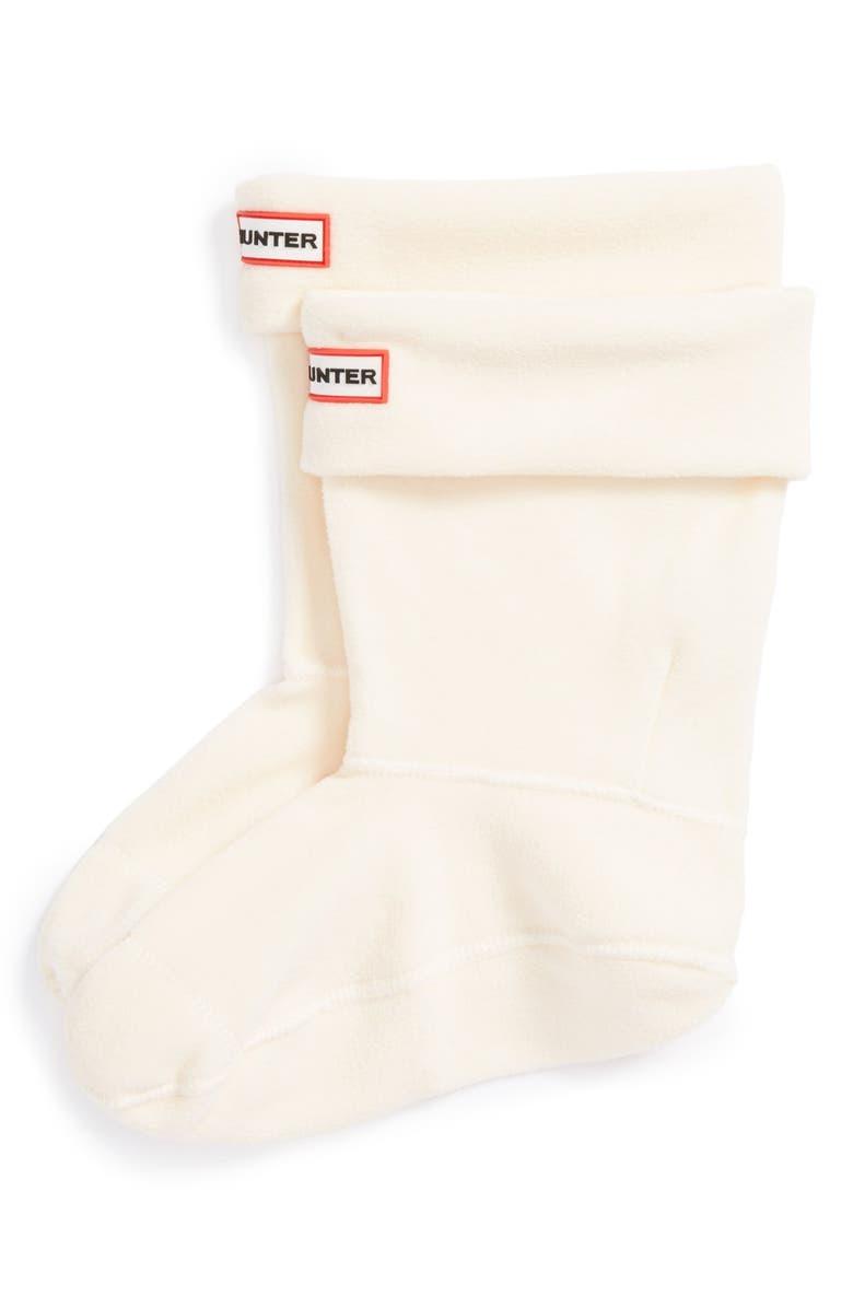HUNTER Short Fleece Welly Boot Socks, Main, color, CREAM FLEECE