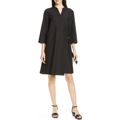 Eileen Fisher Tencel Lyocell Blend Wrap Dress, Black