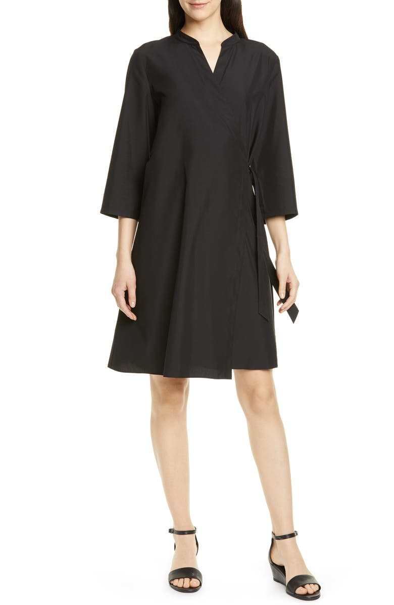 EILEEN FISHER Tencel<sup>®</sup> Lyocell Blend Wrap Dress, Main, color, 001