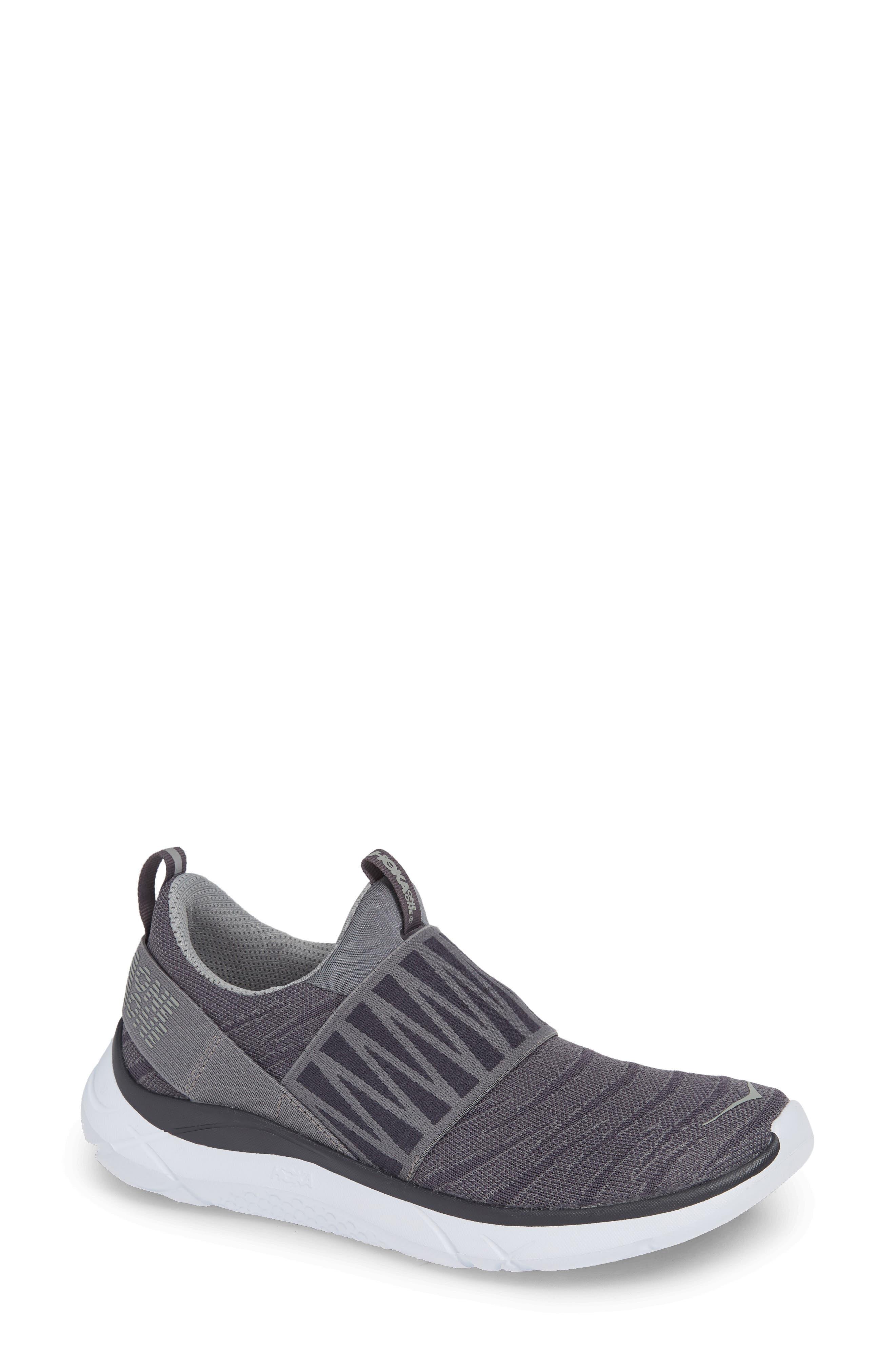 Hoka One One Hupana Knit Jacquard Slip-On Running Shoe- Grey