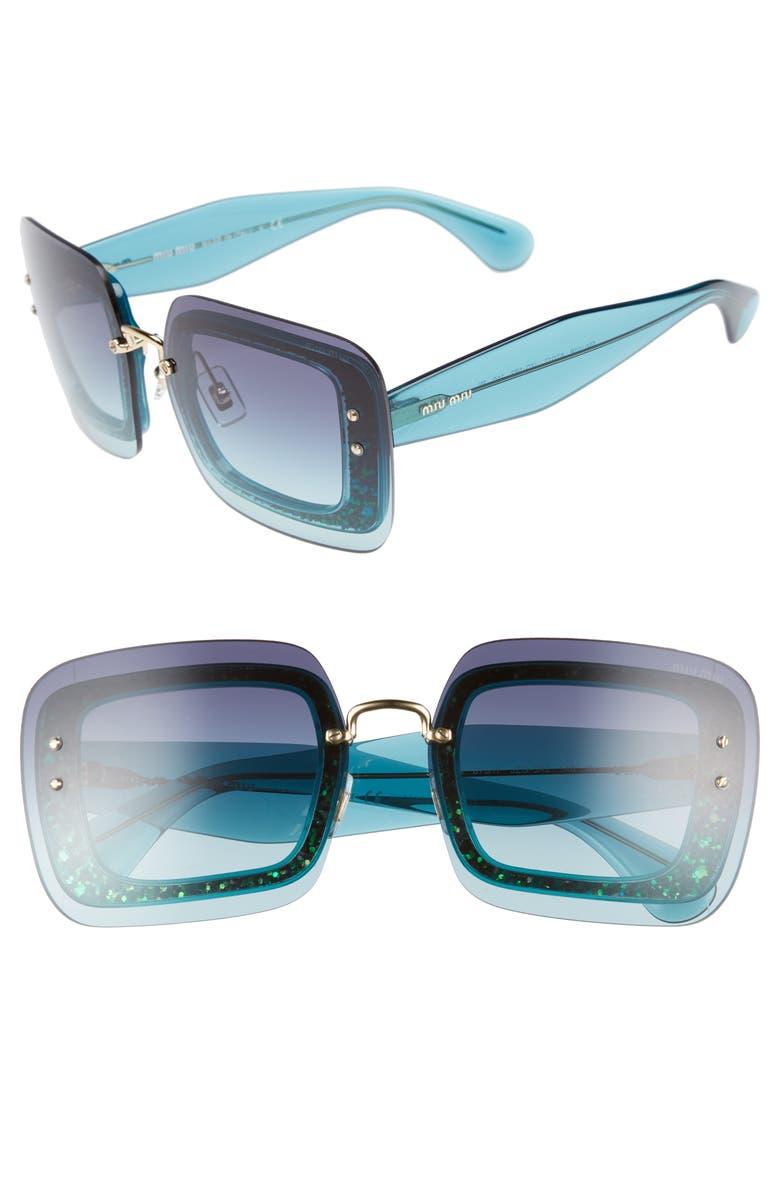MIU MIU 67mm Square Sunglasses, Main, color, TURQUOISE GRADIENT