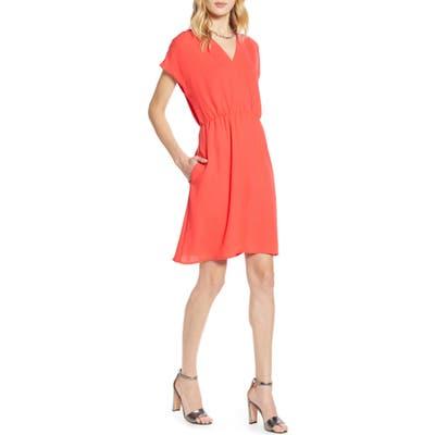 Petite Halogen Faux Wrap Dress, Red
