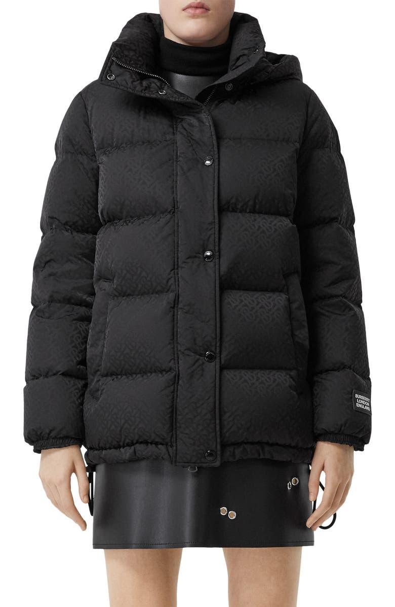 BURBERRY Sellindge TB Jacquard Down Puffer Coat, Main, color, BLACK IP PAT