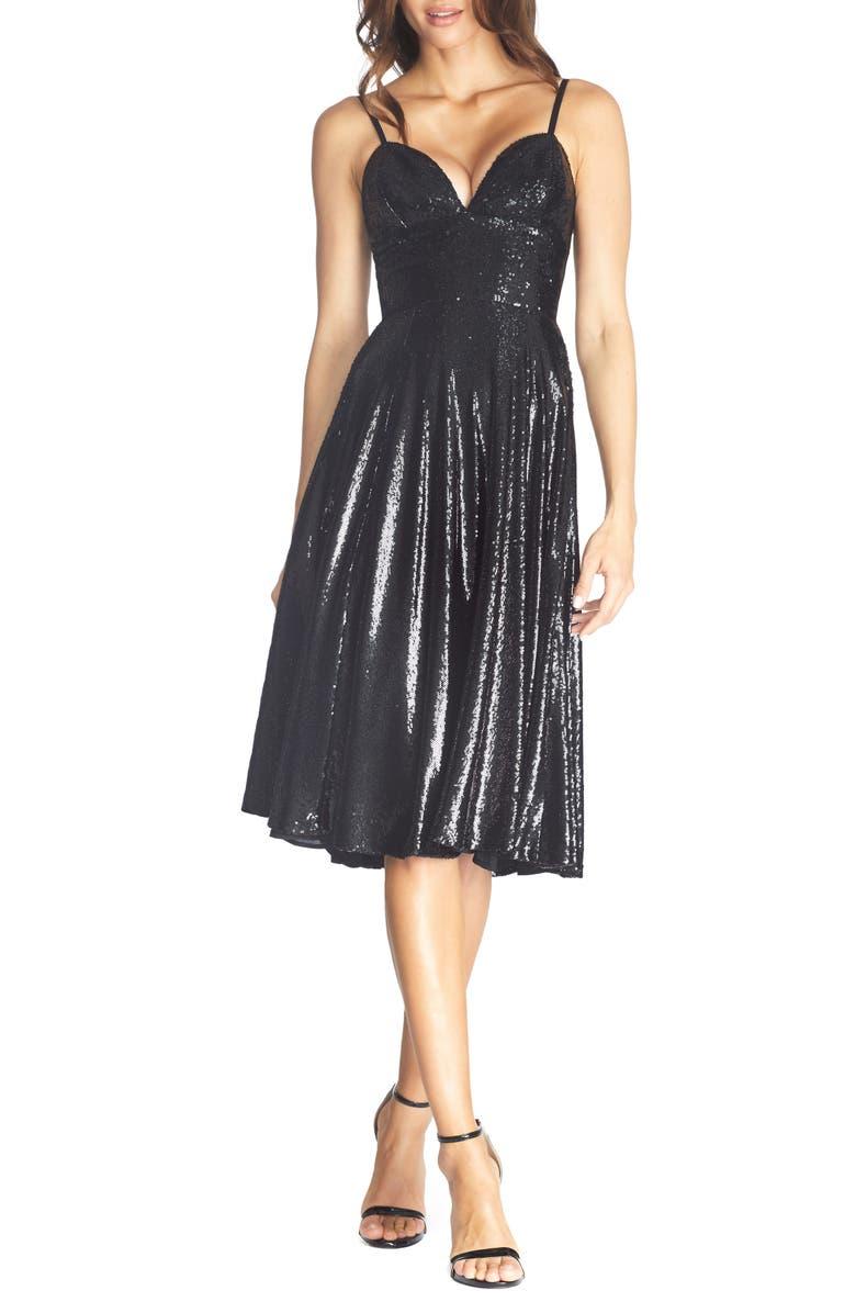 DRESS THE POPULATION Mimi Sequin Cocktail Dress, Main, color, EBONY