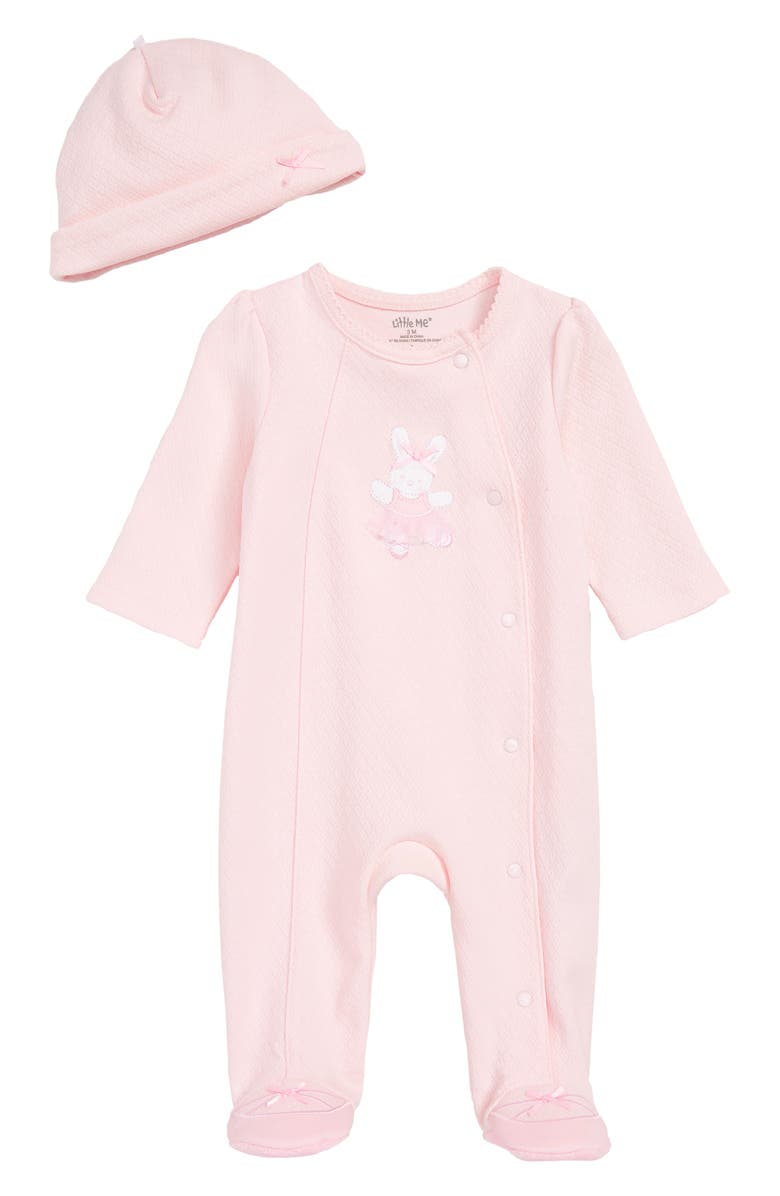 LITTLE ME Ballet Bunny Footie & Beanie Set, Main, color, LIGHT PINK