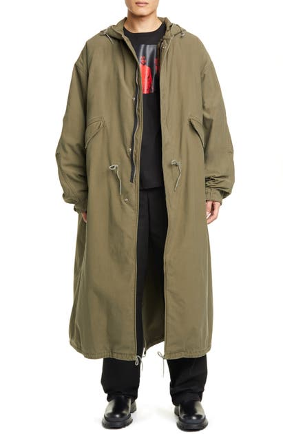 Raf Simons Long Hooded Parka With Removable Fleece Lining In Khaki