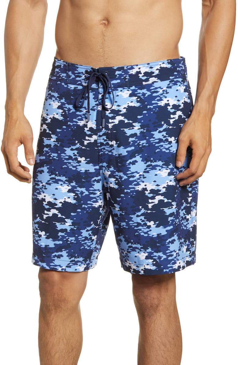 SOUTHERN TIDE Camo Water Board Shorts, Main, color, TRUE NAVY