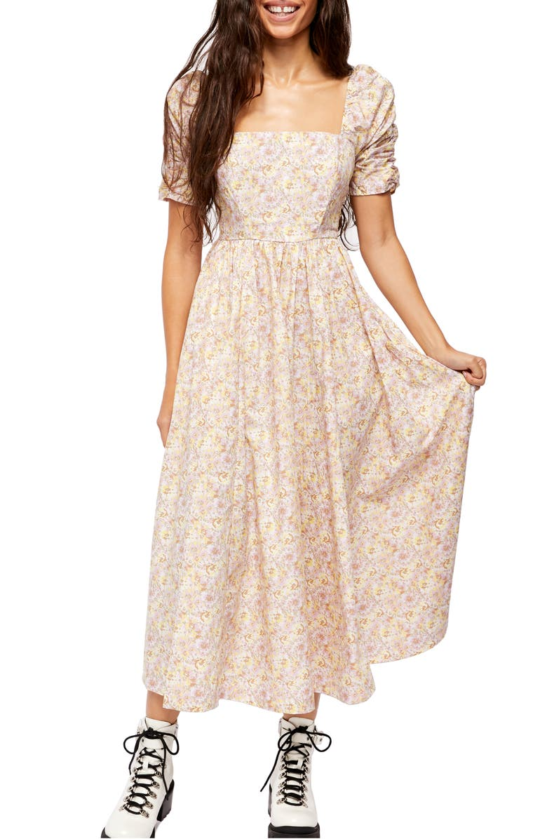 FREE PEOPLE She's a Dream Midi Dress, Main, color, POWDER COMBO