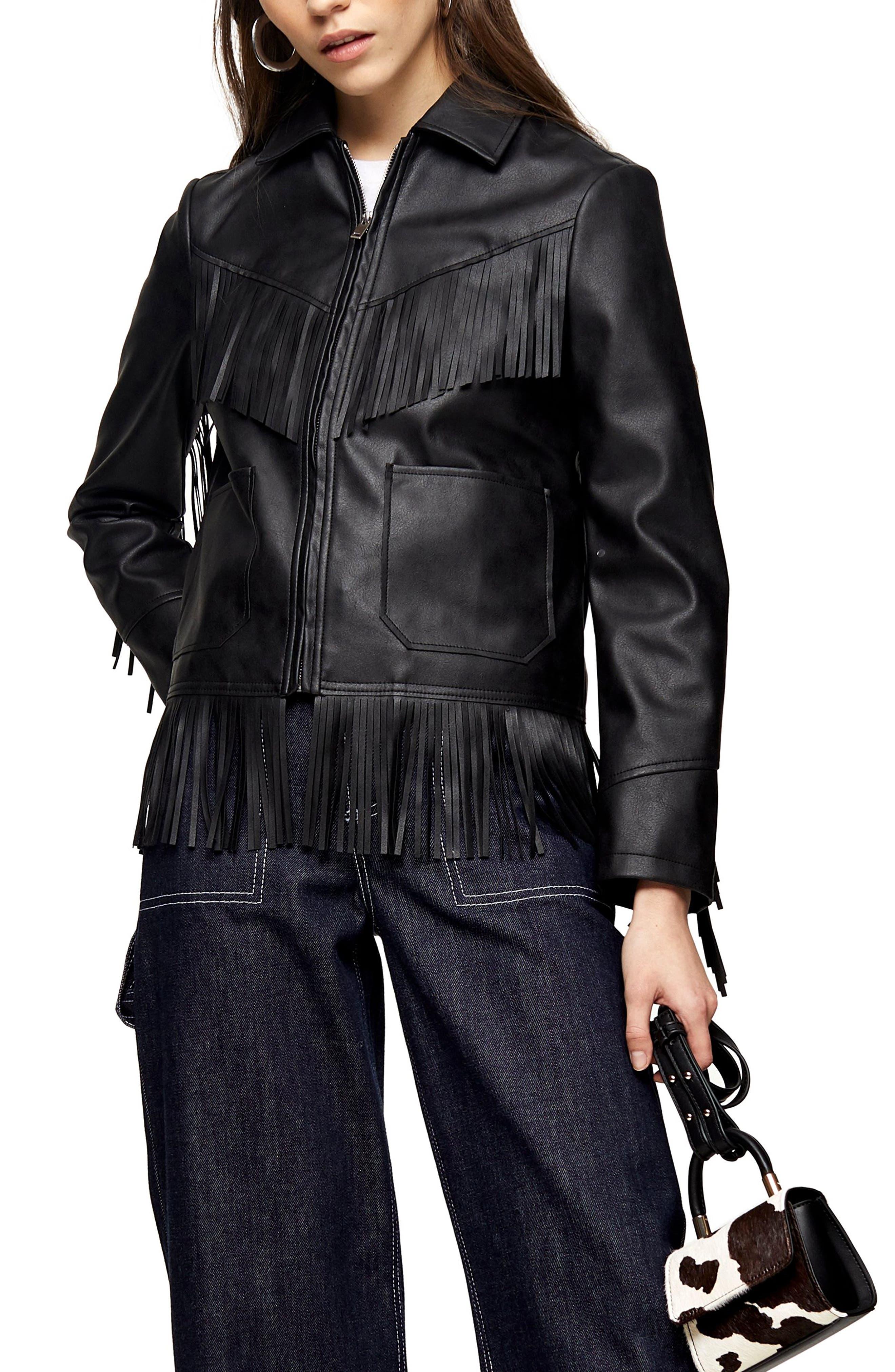 70s Jackets, Furs, Vests, Ponchos Womens Topshop Fringe Trim Faux Leather Jacket $110.00 AT vintagedancer.com