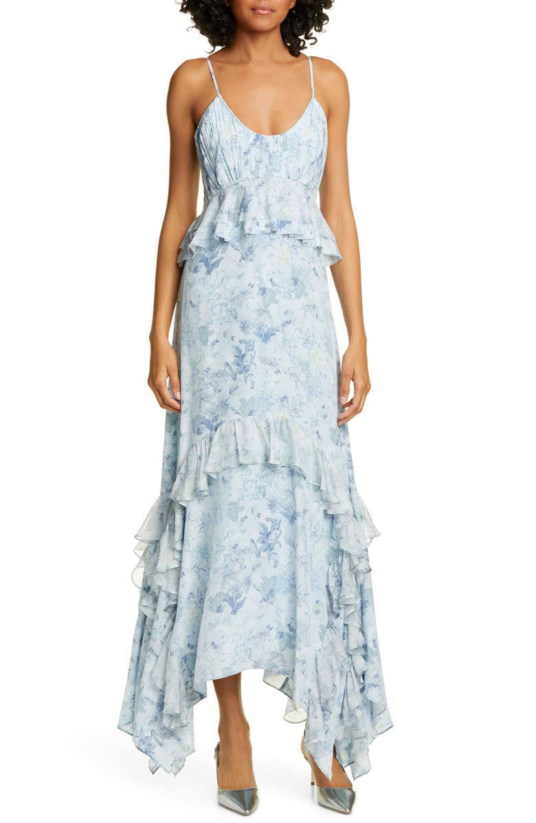 AMUR Promise Floral Print Silk Maxi Dress, Main, color, ICY BLUE