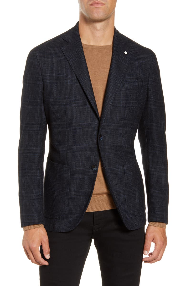 L.B.M. 1911 Trim Fit Plaid Cotton Blend Sport Coat, Main, color, BLUE