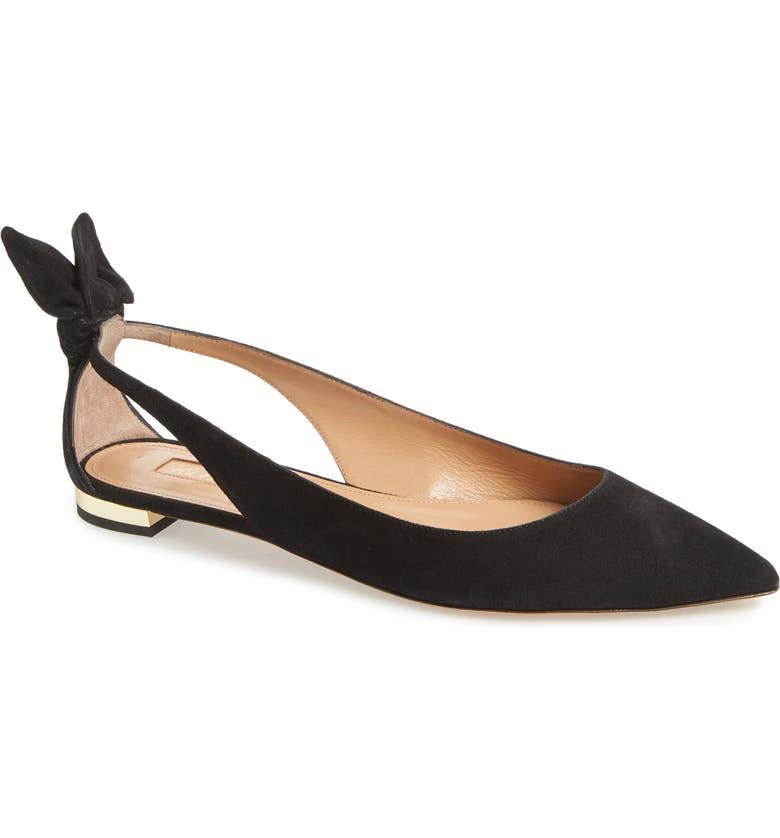 AQUAZZURA Deneuve Bow Pointy Toe Flat, Main, color, BLACK