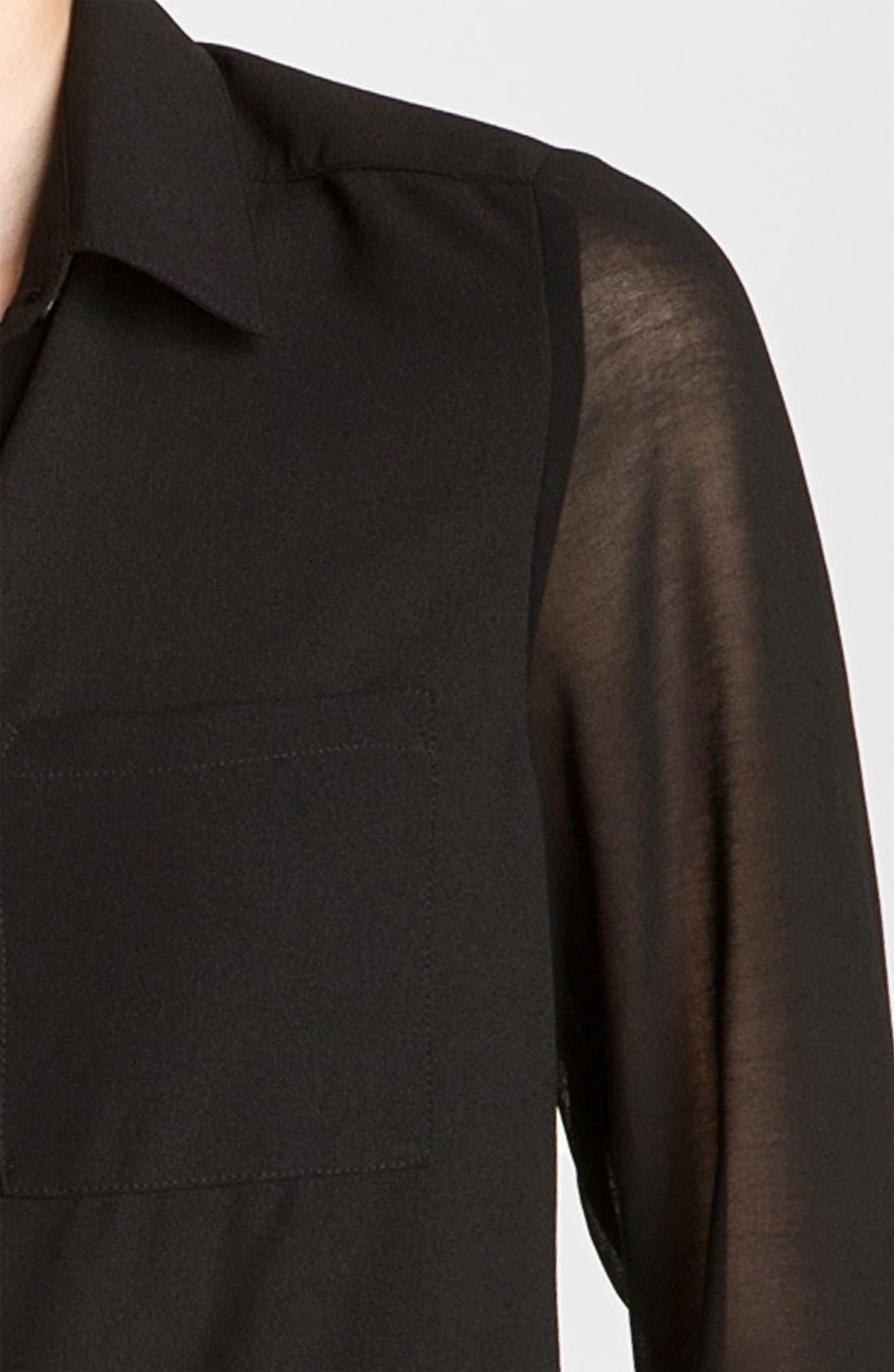 ,                             Lush Sheer Panel High/Low Shirt,                             Alternate thumbnail 3, color,                             001