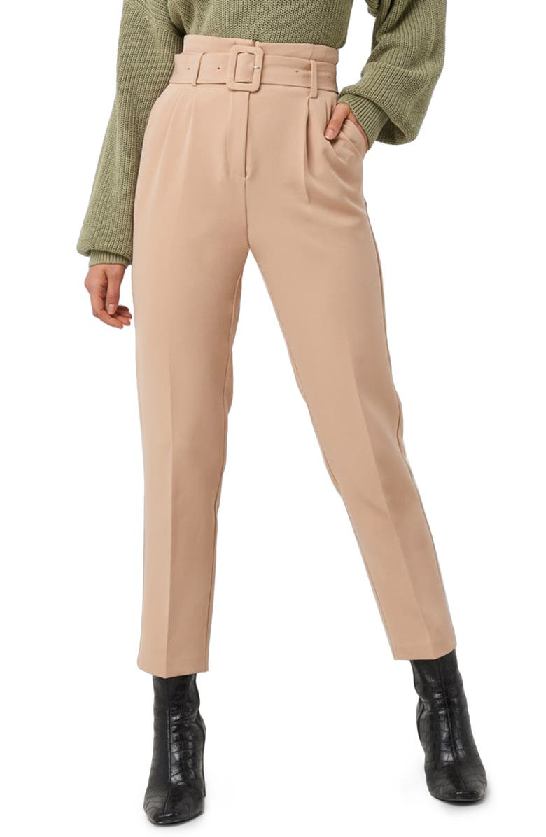 NA-KD Belted Suit Pants, Main, color, BEIGE