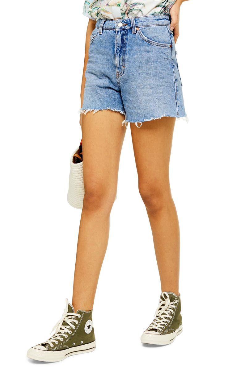 TOPSHOP High Waist Cutoff Denim Shorts, Main, color, MID DENIM