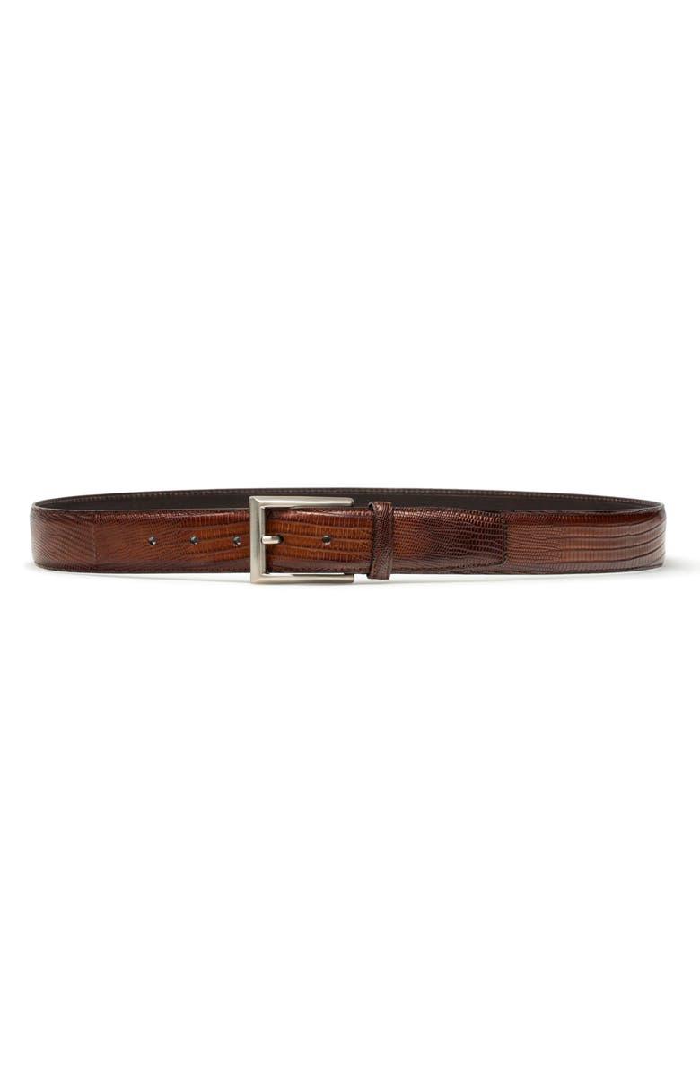 MAGNANNI Tejus Leather Belt, Main, color, COGNAC