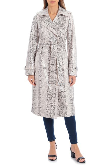 Image of AVEC LES FILLES Snake Print Double Breasted Faux Leather Trench Coat
