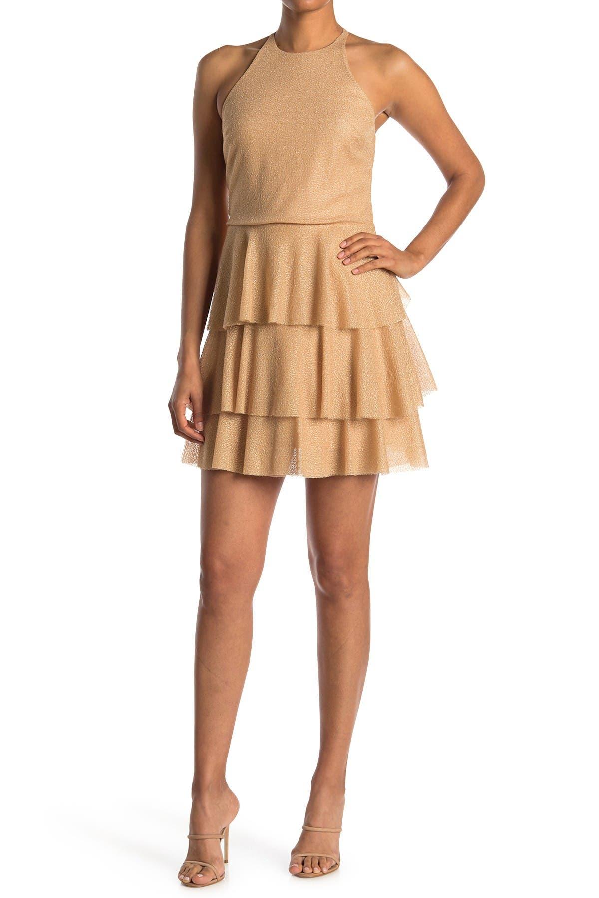 Image of HALSTON High Neck Tiered Skirt Dress