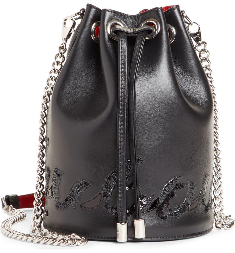 CHRISTIAN LOUBOUTIN Marie Jane Calfskin Bucket Bag, Main, color, BLACK/ BLACK