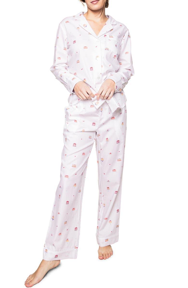 PETITE PLUME Desserts Pajamas, Main, color, WHITE