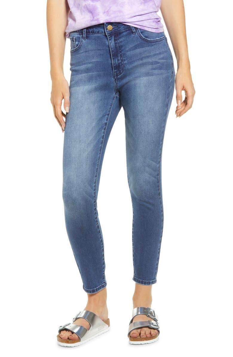 MADE IN BLUE Denim High Waist Crop Skinny Jeans, Main, color, MEDIUM WASH