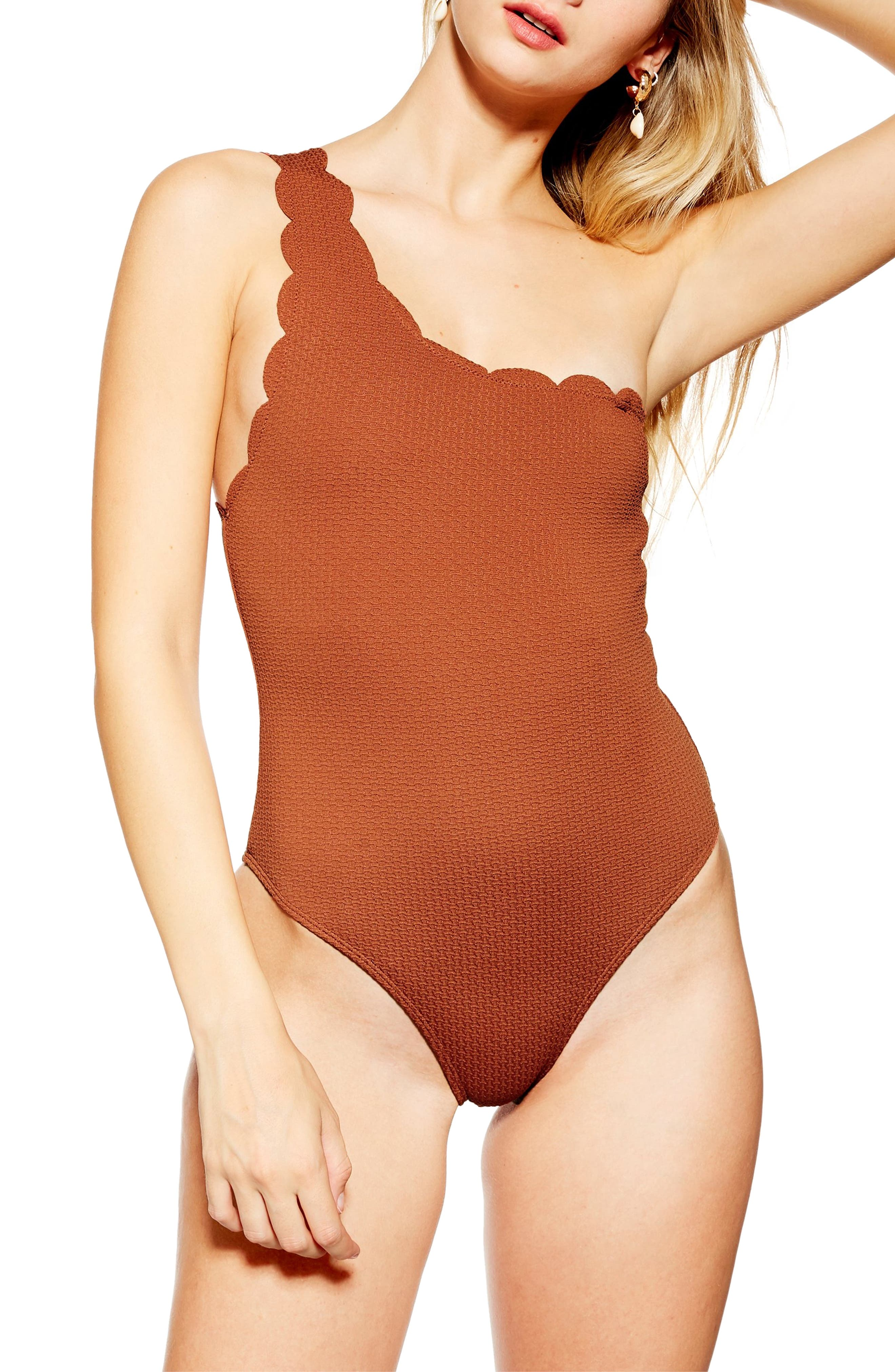 ,                             Scallop One-Shoulder One-Piece Swimsuit,                             Main thumbnail 1, color,                             RUST