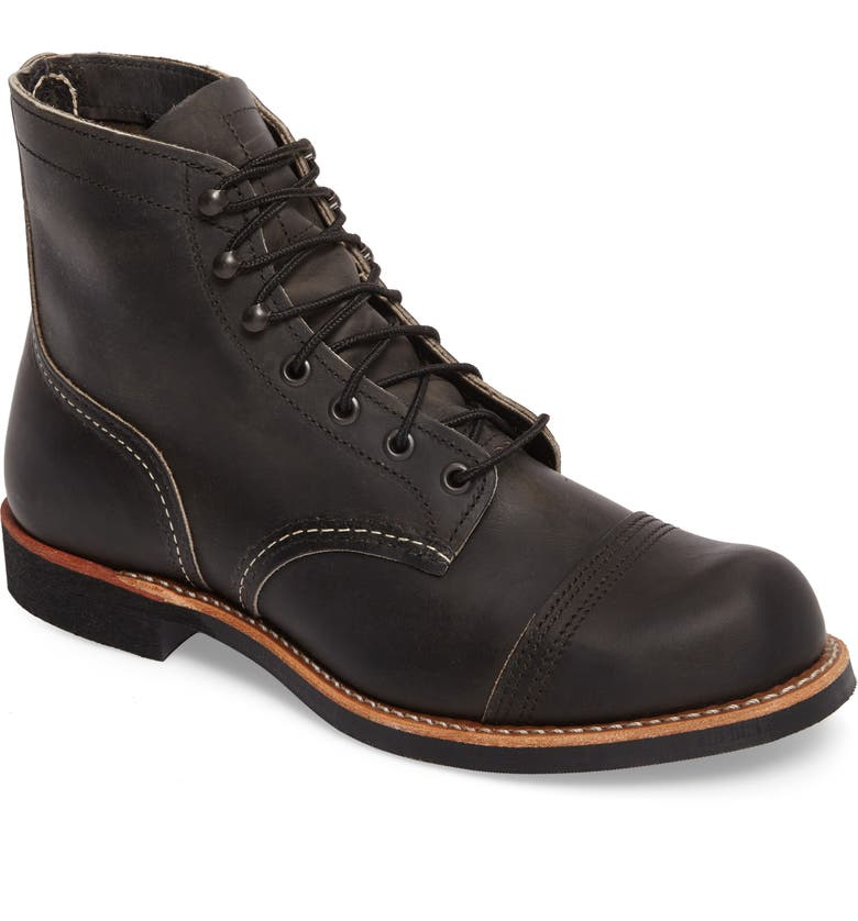 RED WING Iron Ranger Cap Toe Boot, Main, color, CHARCOAL LEATHER