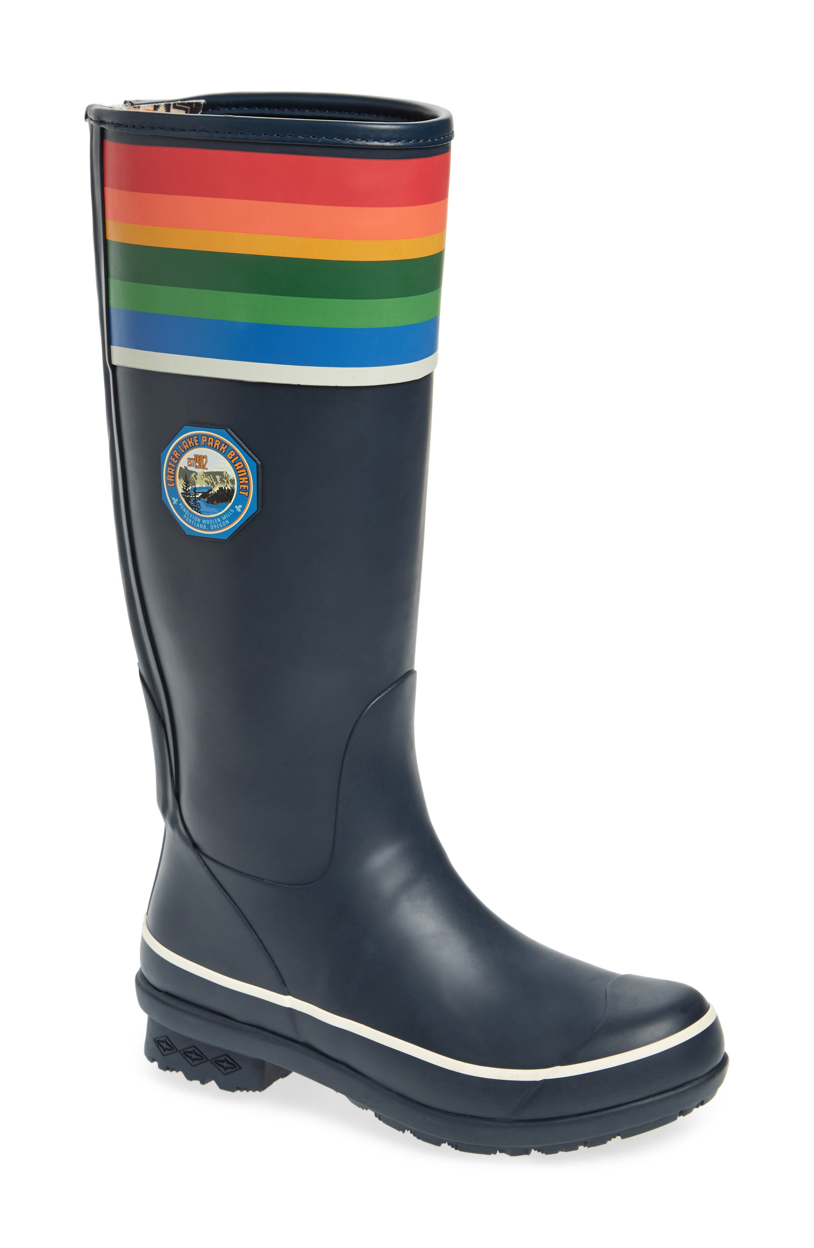 Celebrate the stunning beauty of Crater Lake National park while keeping your feet dry in a waterproof tall rain boot fitted with a Wool-Plus cushioned insole with odor-control technology. Pendleton\\\'s proprietary Mountain Majesty sole features a multidirectional tread pattern for sure-footed traction while an internal shank provides all-day support. Style Name: Pendleton Crater Lake National Park Tall Rain Boot (Women). Style Number: 5504743.