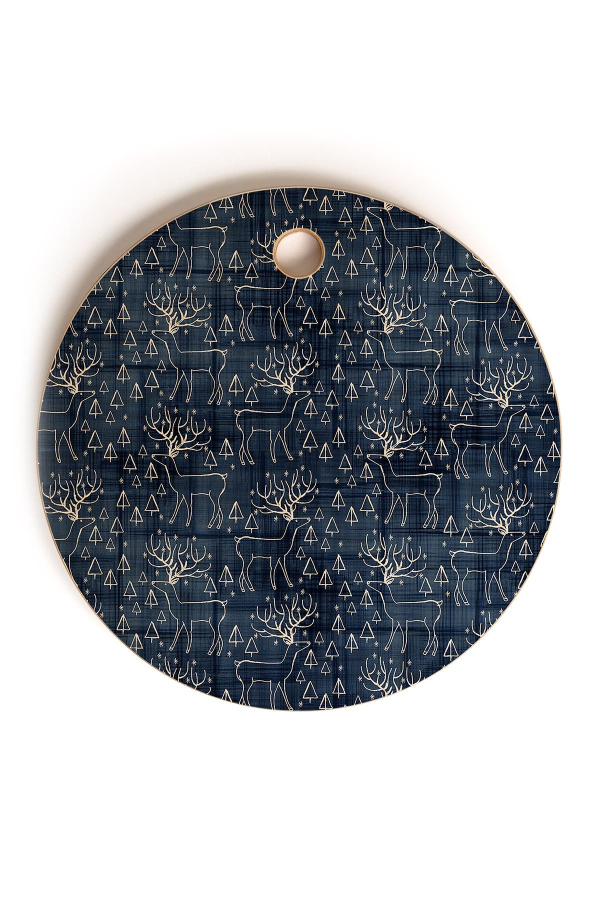 Image of Deny Designs Zoe Wodarz Indigo Deer Round Cutting Board