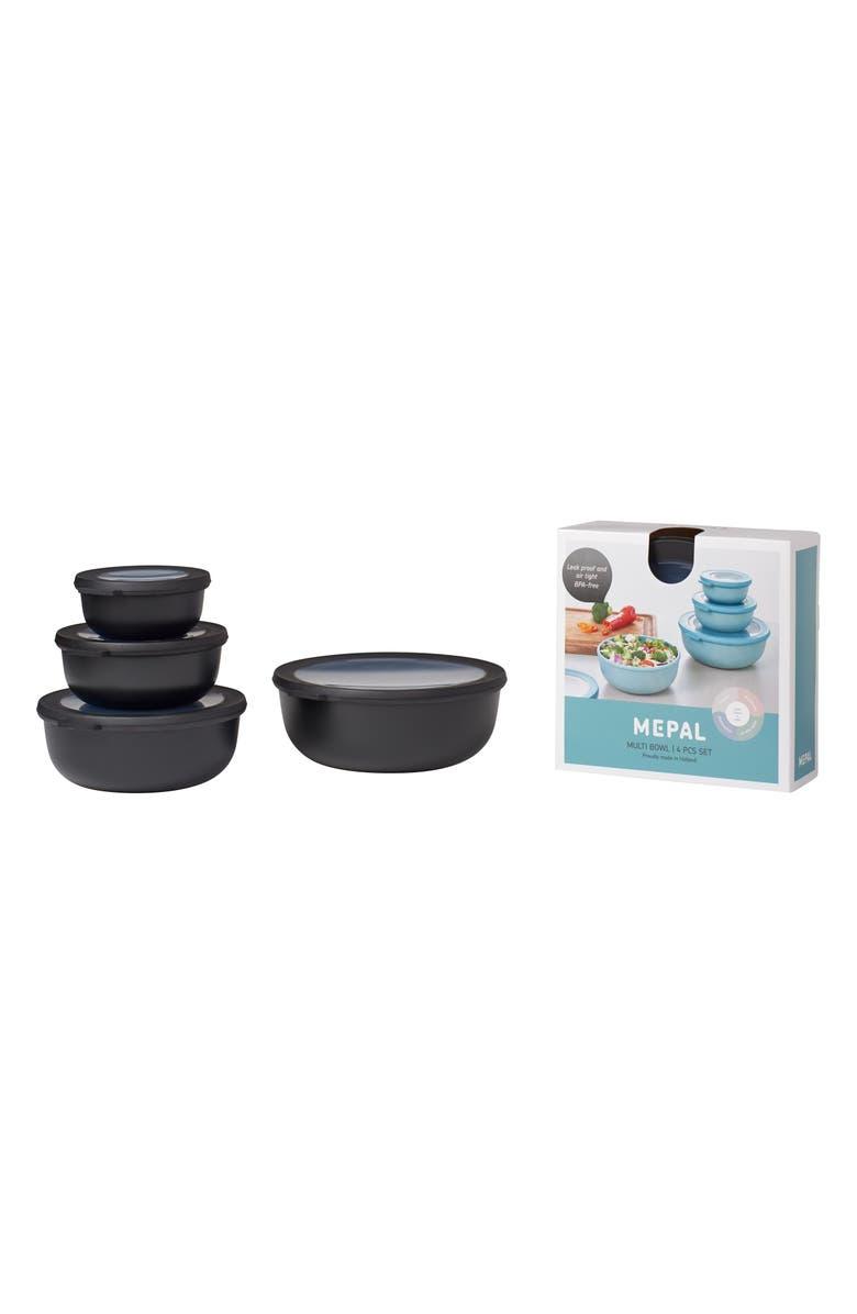 ROSTI MEPAL Cirqula Set of 4 Shallow Storage Bowls, Main, color, BLACK