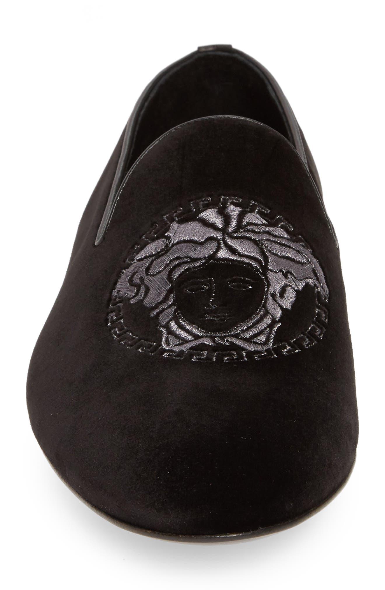 ,                             Medusa Embroidered Velvet Loafer,                             Alternate thumbnail 4, color,                             BLACK/ RUTHENIUM